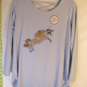 Poof girl Flip my sequins shirt size Large